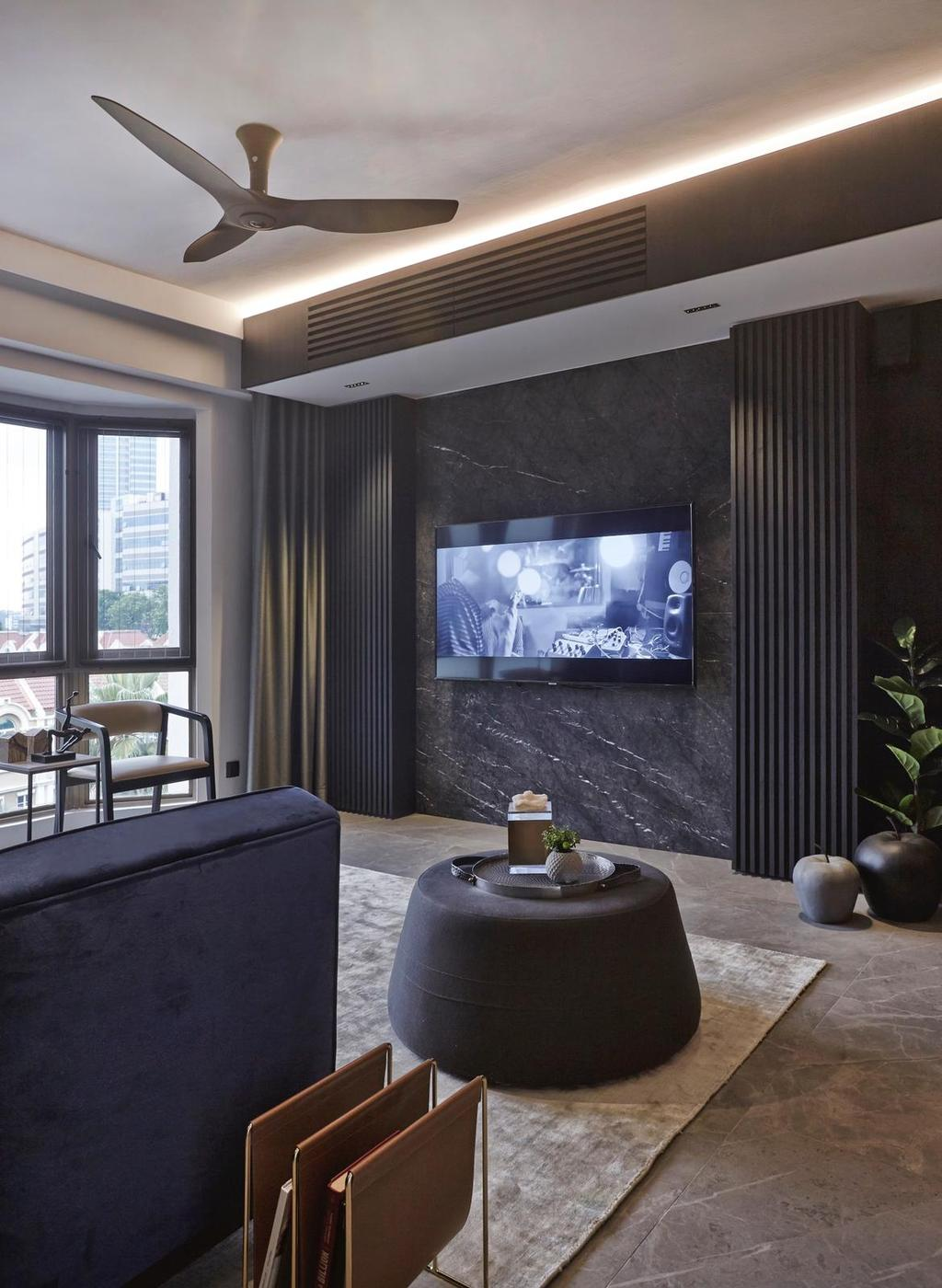 Contemporary, Condo, Living Room, Parkview Apartments, Interior Designer, Honeycomb Design Studio, Hotel Themed, Dark, All Black