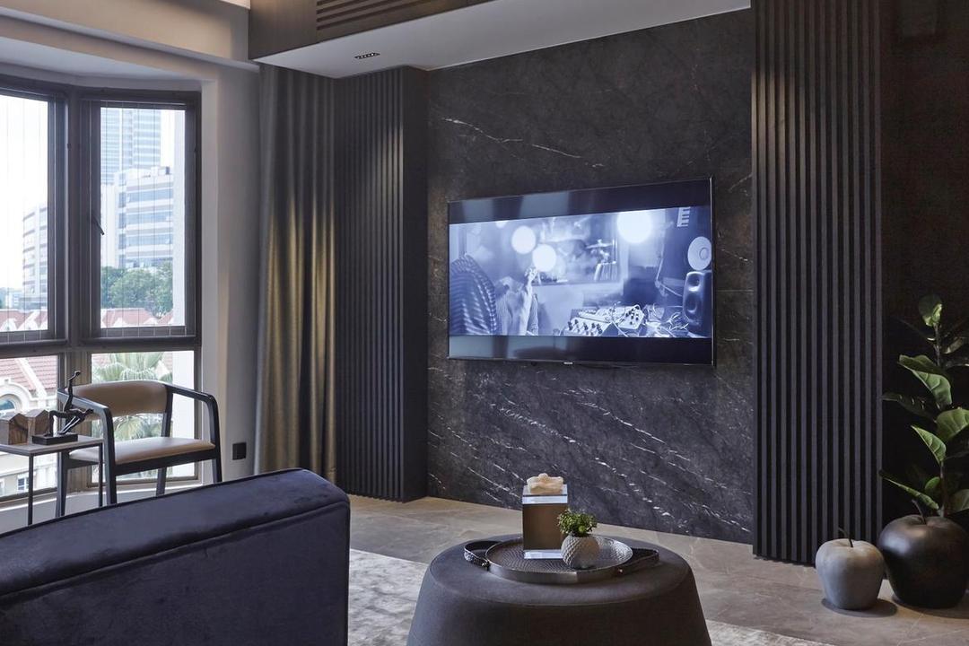 Parkview Apartments, Honeycomb Design Studio, Contemporary, Living Room, Condo, Hotel Themed, Dark, All Black