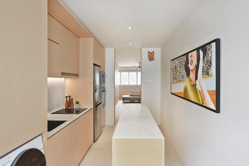 Minimalistic, HDB, Kitchen, Yishun Ring Road, Interior Designer, Honeycomb Design Studio, Kitchen Island