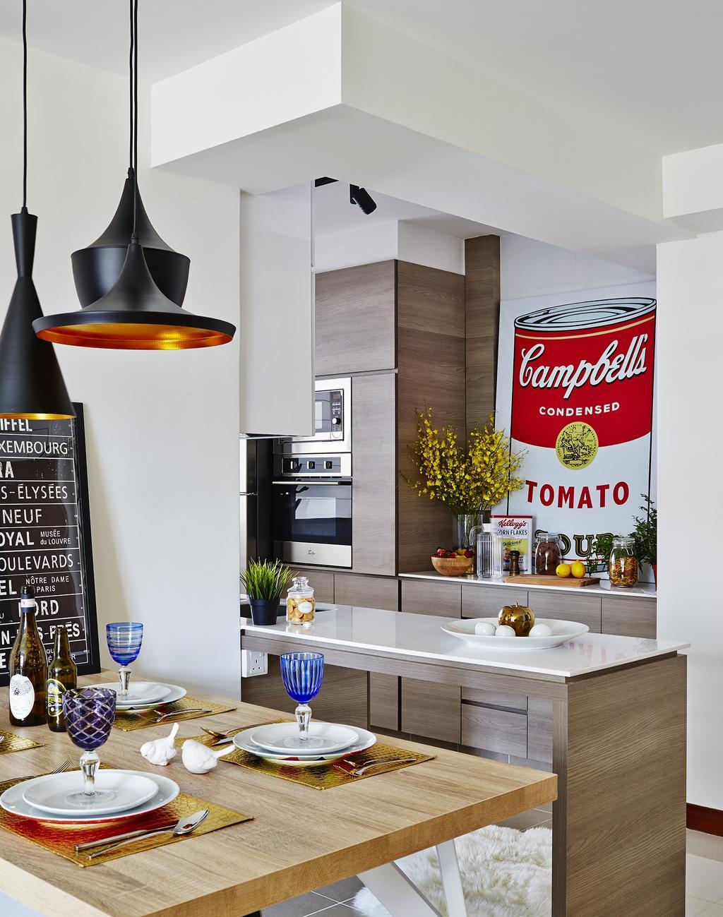 Contemporary, HDB, Kitchen, Punggol Drive, Interior Designer, Honeycomb Design Studio