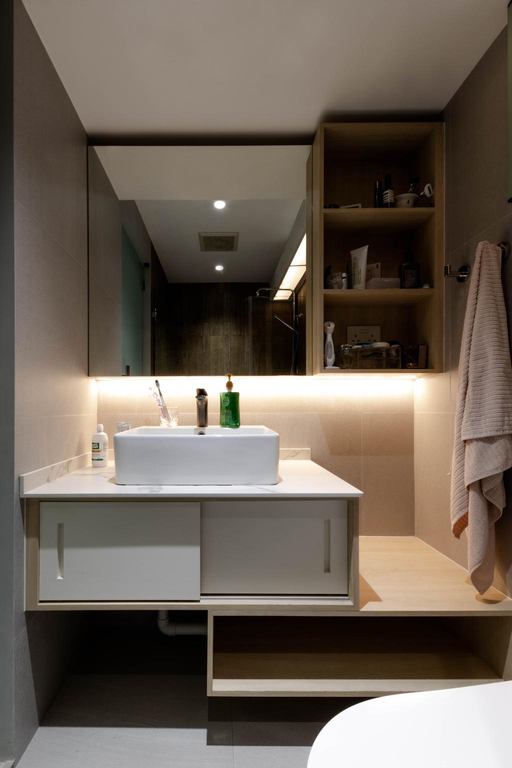Minimalistic, HDB, Bathroom, Punggol Drive, Interior Designer, ARK-hitecture, Contemporary