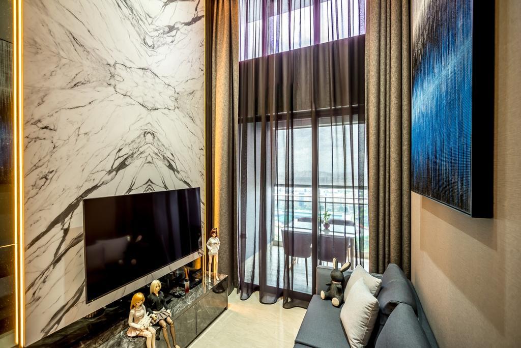 Transitional, Condo, Living Room, Parc Riviera, Interior Designer, One Design Werkz