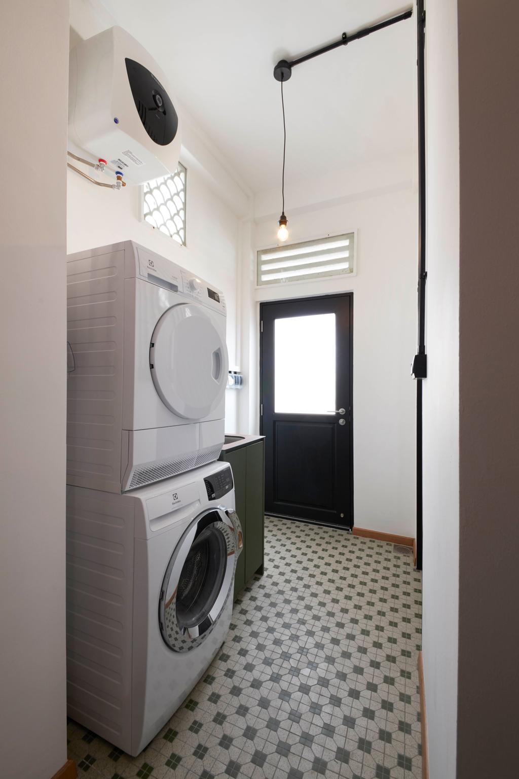 Eclectic, HDB, Kitchen, Joo Chiat, Interior Designer, Free Space Intent, Vintage, Yard, Laundry, Service Yard