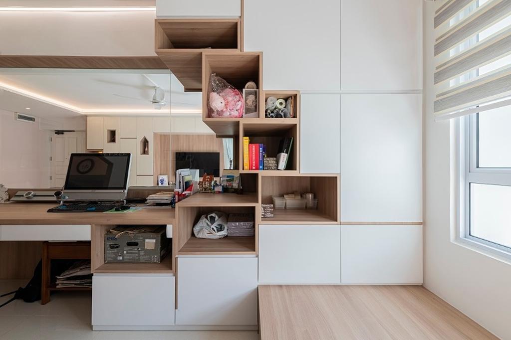 Modern, HDB, Study, Jurong East Street 64, Interior Designer, The Two Big Guys, Contemporary