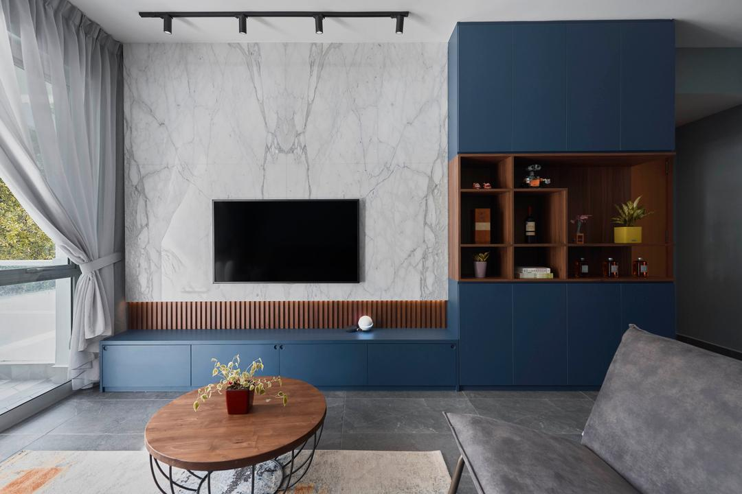 Vision Crest, Charlotte's Carpentry, Contemporary, Scandinavian, Living Room, Condo, Feature Wall, Blue