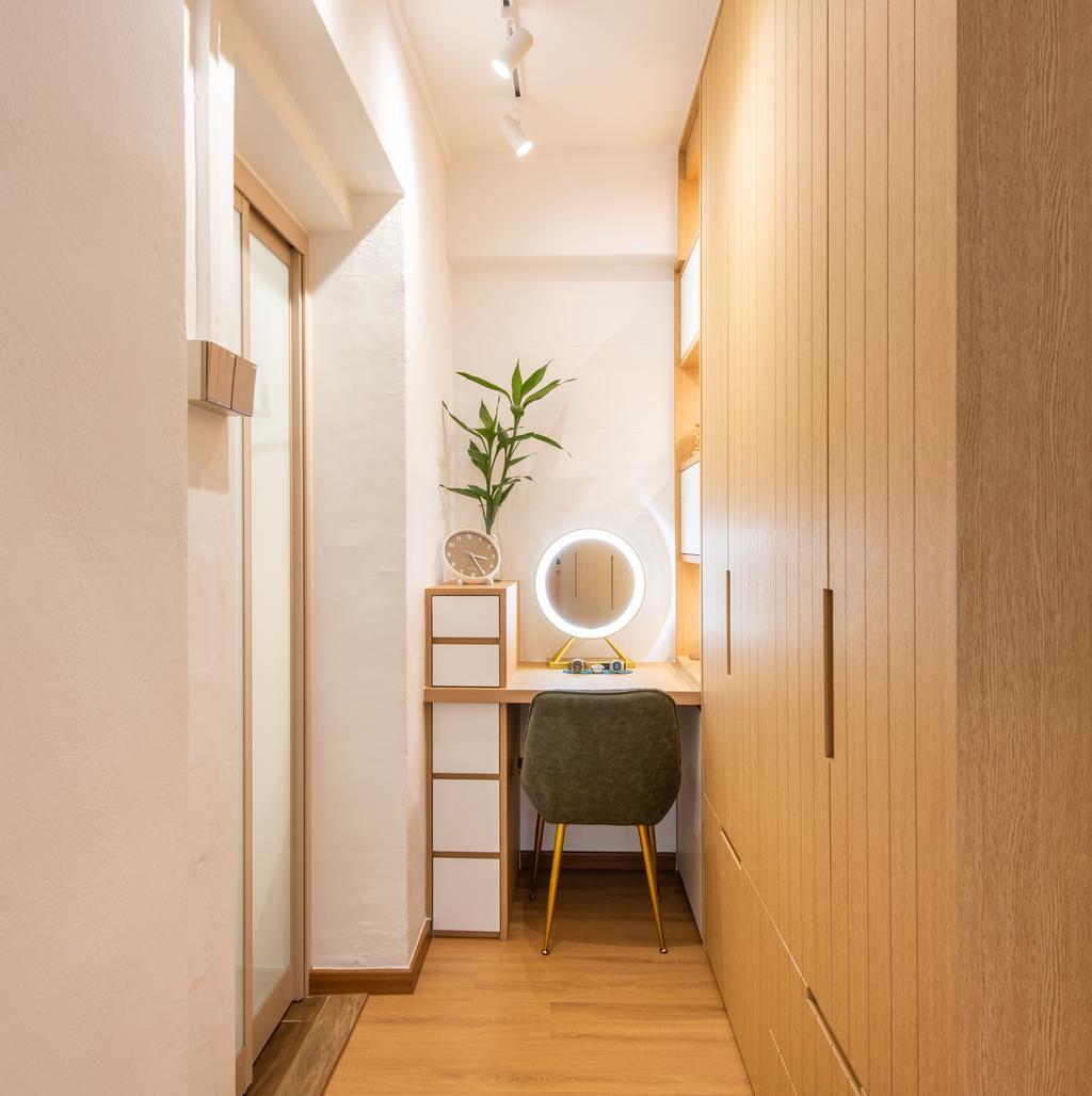 Minimalistic, HDB, Bedroom, Toa Payoh Lorong 8, Interior Designer, Dyel Design, Vanity, Dressing Room
