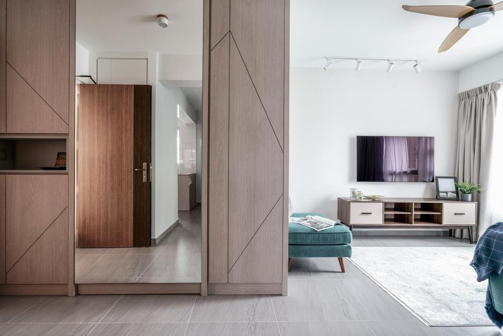 Contemporary, HDB, Living Room, Bedok North Road, Interior Designer, Couple Abode, Scandinavian