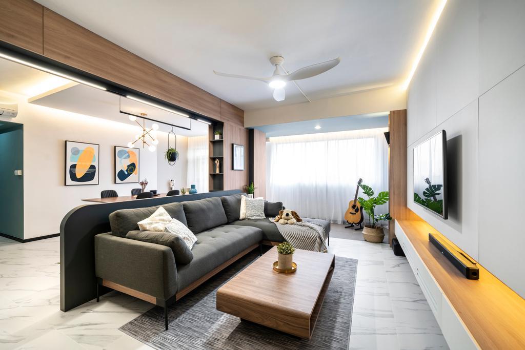 Contemporary, HDB, Living Room, Woodlands Street 41, Interior Designer, Livspace