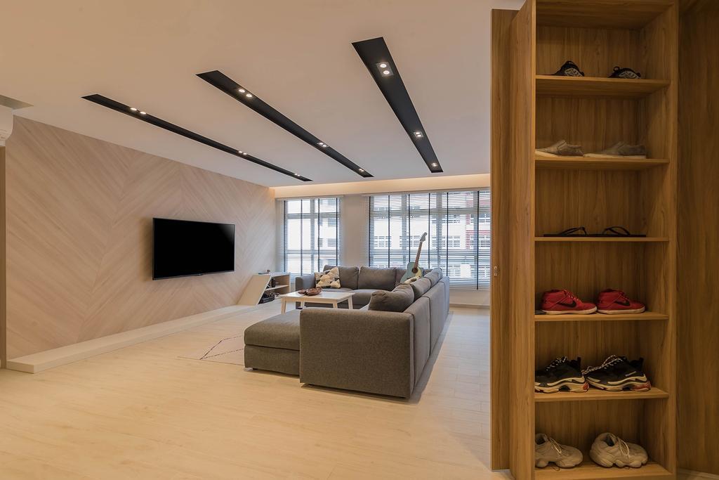Contemporary, HDB, Living Room, West Ridges, Interior Designer, Noble Interior Design, Scandinavian, Shoe Cabinet