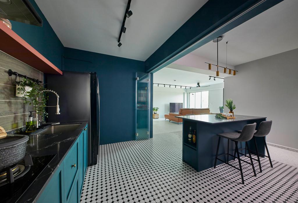 Contemporary, HDB, Kitchen, East Delta @ Canberra, Interior Designer, The Interior Lab, Kitchen Island, Teal, Blue
