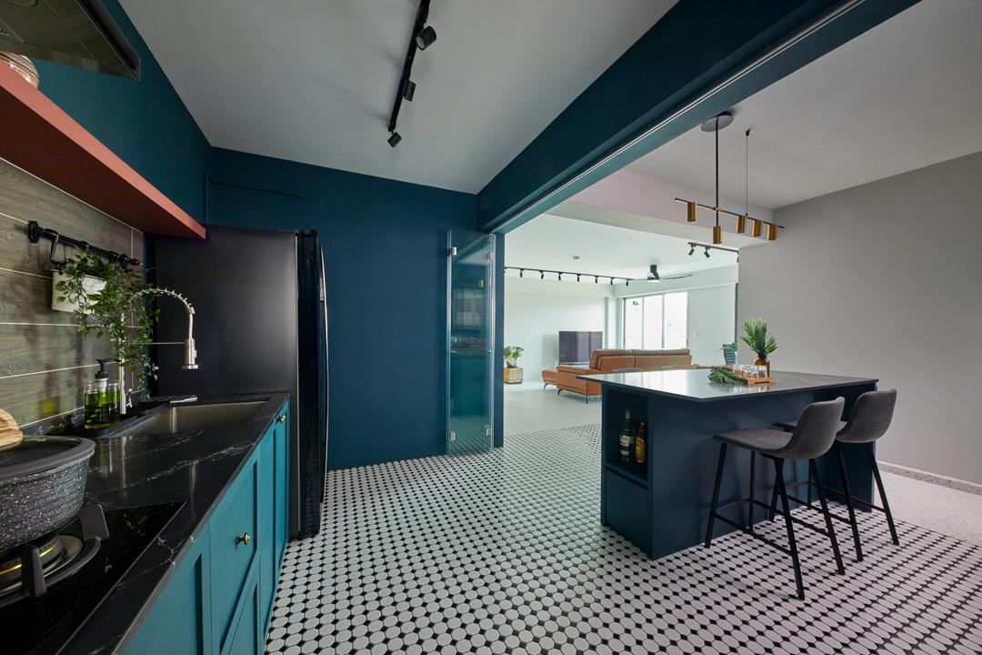 East Delta @ Canberra, The Interior Lab, Contemporary, Kitchen, HDB, Kitchen Island, Teal, Blue