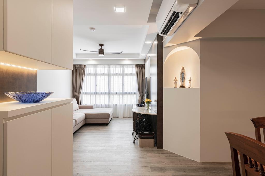 Contemporary, HDB, Living Room, Tampines North Drive 1, Interior Designer, Metier Planner, Altar
