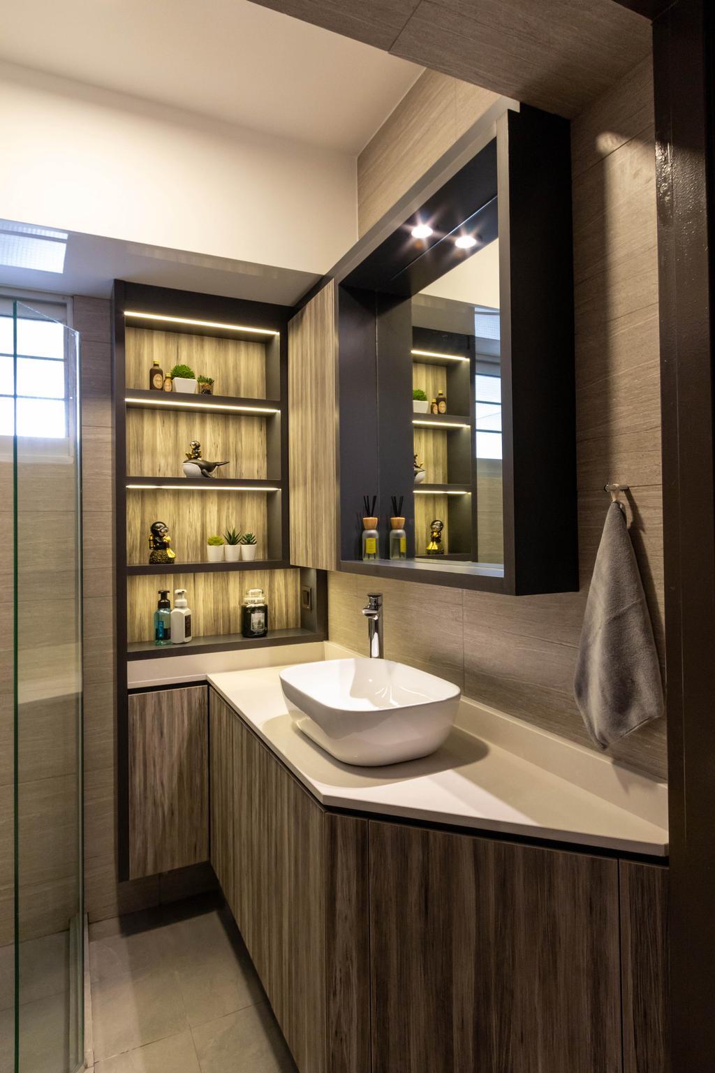 Modern, HDB, Bathroom, Dawson Road, Interior Designer, Fineline Design, Contemporary, Vanity