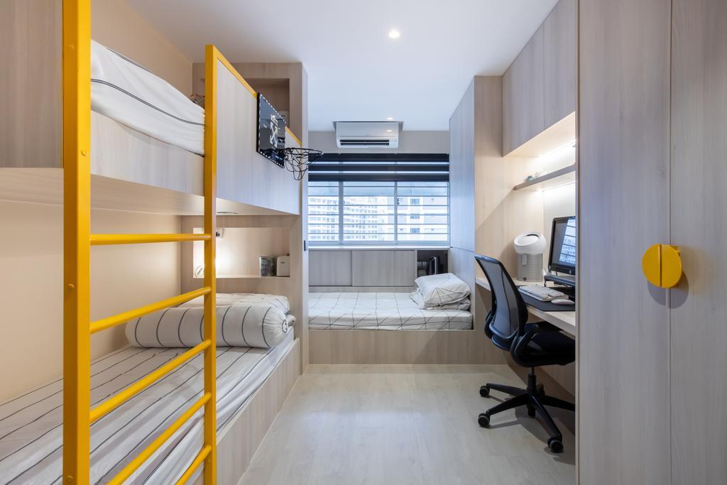 Modern, HDB, Bedroom, Yishun Avenue 11, Interior Designer, Swiss Interior Design, Scandinavian, Double Deck Bed, Kids, Kids Room