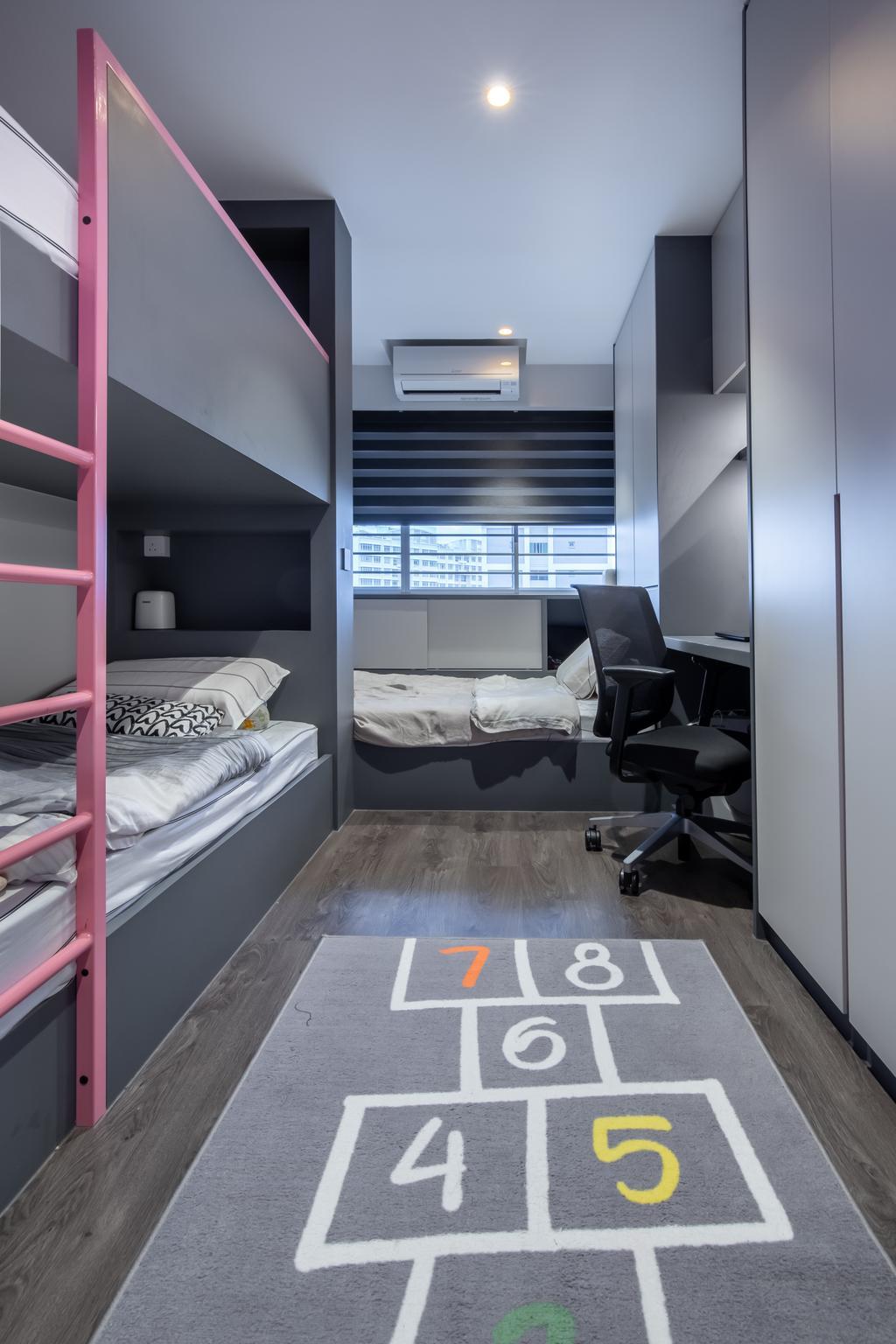 Modern, HDB, Bedroom, Yishun Avenue 11, Interior Designer, Swiss Interior Design, Scandinavian, Kids, Double Deck Bed, Kids Room