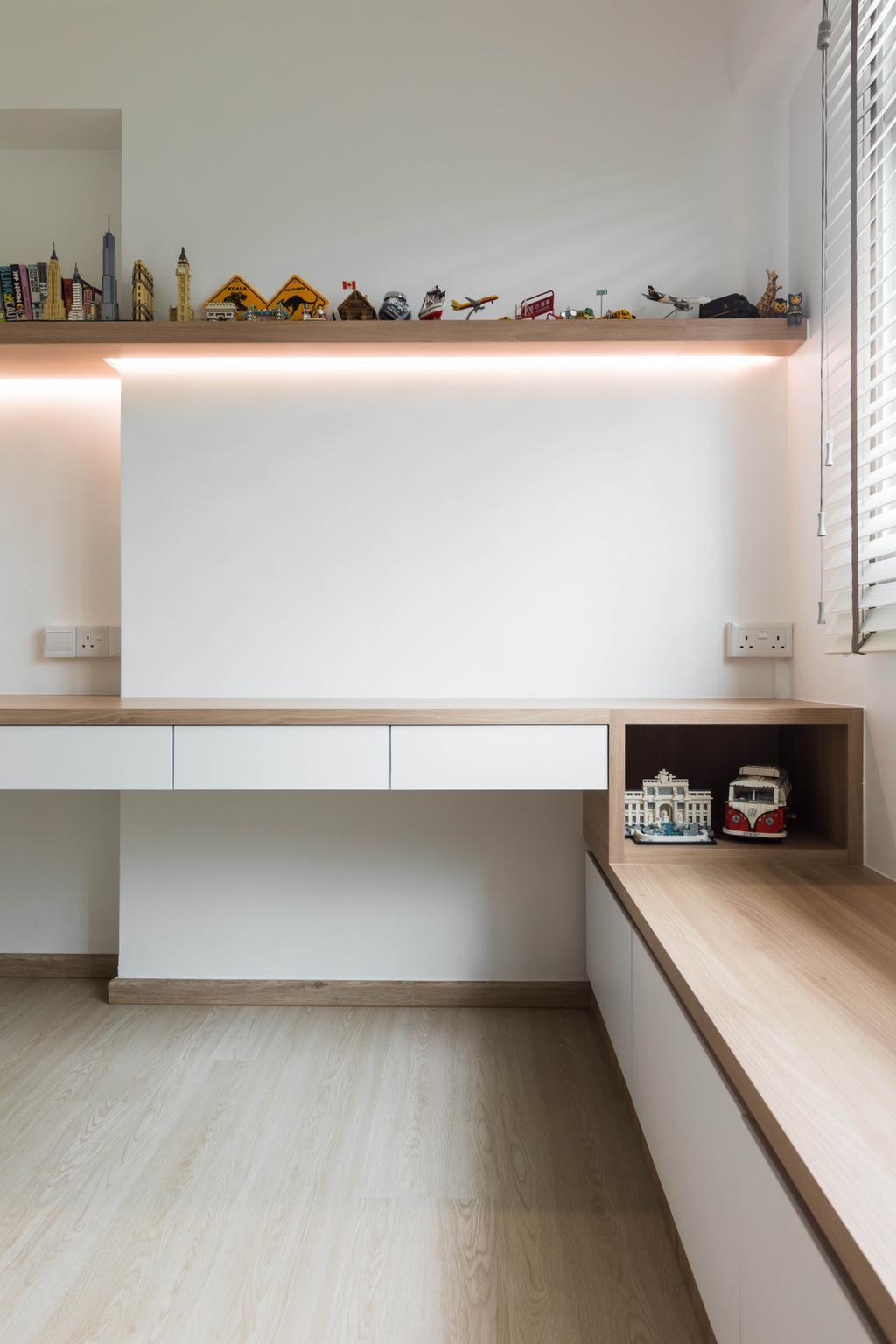 Scandinavian, HDB, Study, Pasir Ris Street 51, Interior Designer, ELPIS Interior Design, Window Seat, Window Storage, Seat Storage