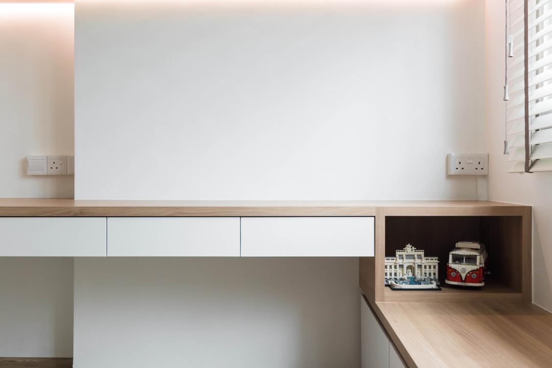 Pasir Ris Street 51, ELPIS Interior Design, Scandinavian, Study, HDB, Window Seat, Window Storage, Seat Storage