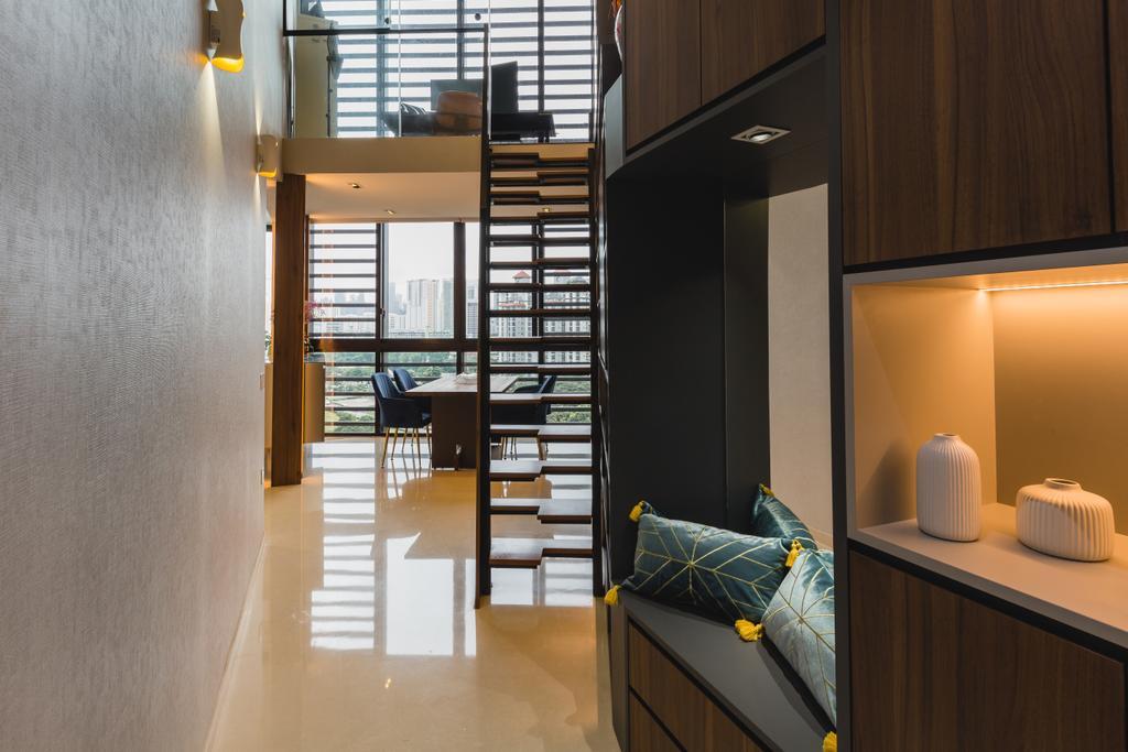Contemporary, Condo, Living Room, The Crest, Interior Designer, Posh Home, Modern, High Ceilling, Loft, Mezzanine, Penthouse