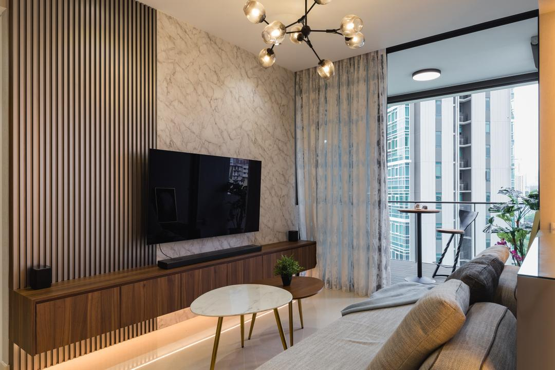 The Crest, Posh Home, Contemporary, Modern, Living Room, Condo, Feature Wall, Tv Console