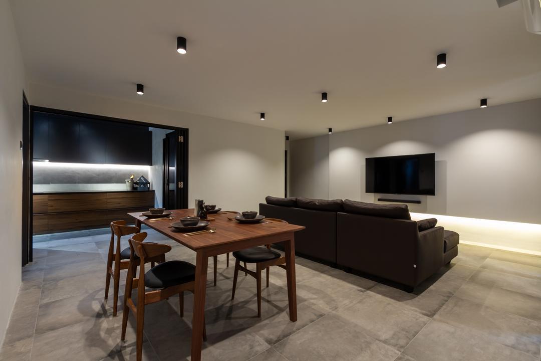 Rivervale Crescent, Fineline Design, Minimalistic, Living Room, HDB, Open Concept, Dark