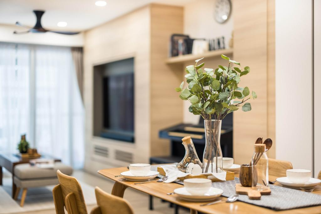 Scandinavian, HDB, Dining Room, Tampines Central 7, Interior Designer, U-Home Interior Design