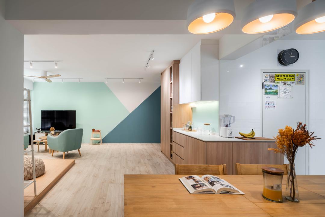 Bukit Batok West Avenue 8, Zenith Arc, Scandinavian, Living Room, HDB, Pastel, Feature Wall, Open Concept, Open Living