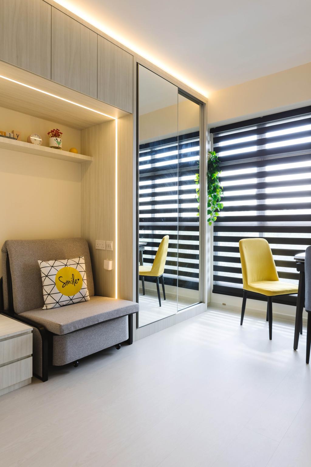 Contemporary, HDB, Living Room, Northshore Drive, Interior Designer, Orange Interior