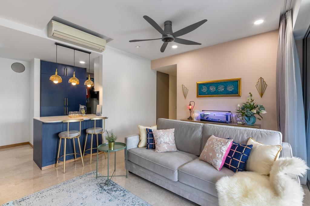 Contemporary, Condo, Living Room, Riversails, Interior Designer, Livspace