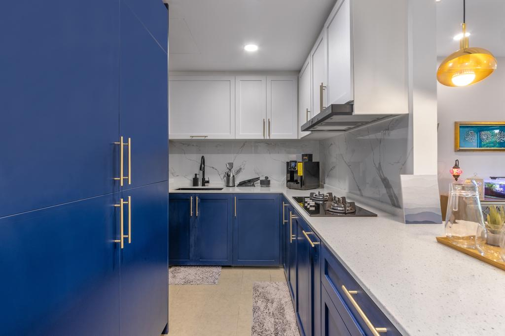 Contemporary, Condo, Kitchen, Riversails, Interior Designer, Livspace, Blue