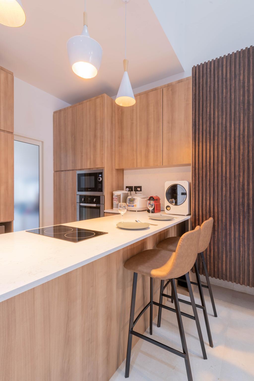 Contemporary, Landed, Kitchen, Luxus Hill, Interior Designer, D'Brain Studio