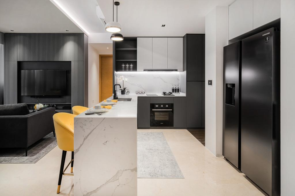 Modern, Condo, Kitchen, Martin Place Residences, Interior Designer, Mr Shopper Studio, Kitchen Island