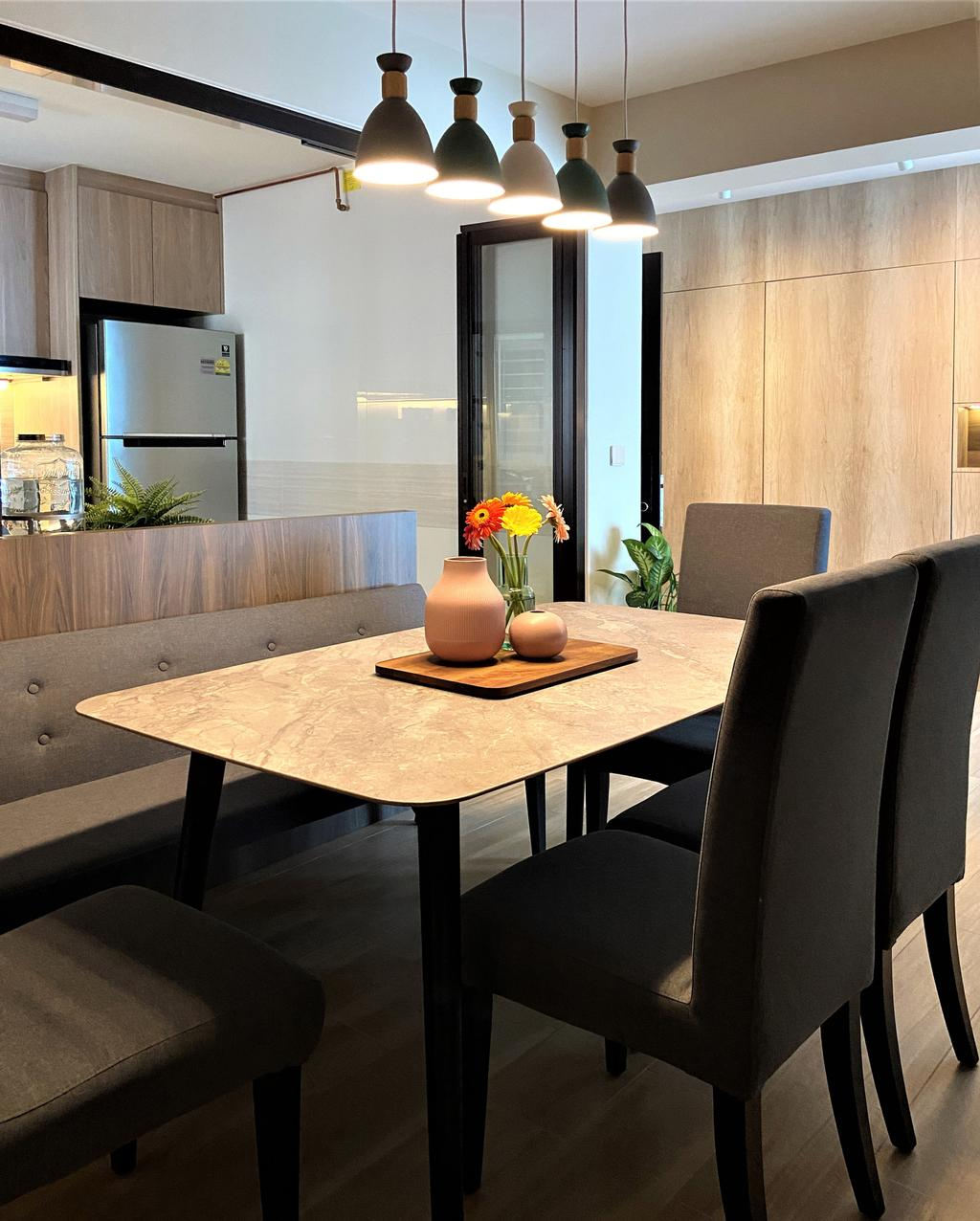 Modern, HDB, Dining Room, Bedok North Road, Interior Designer, Space Atelier, Contemporary