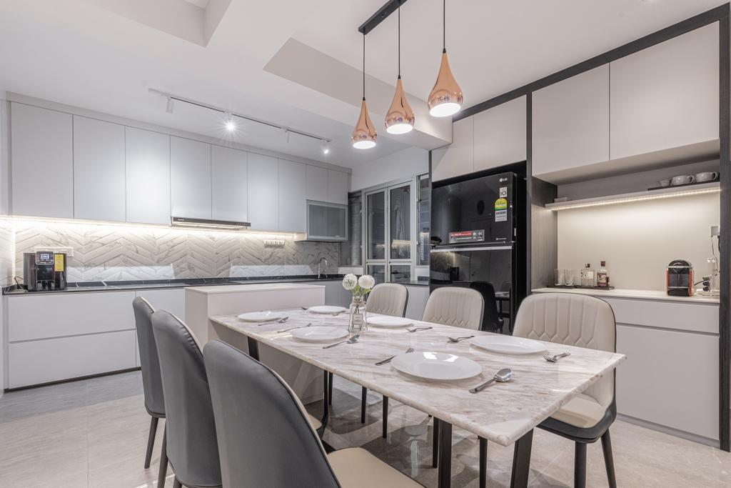 Contemporary, HDB, Dining Room, Anchorvale Lane, Interior Designer, Luova Project Services