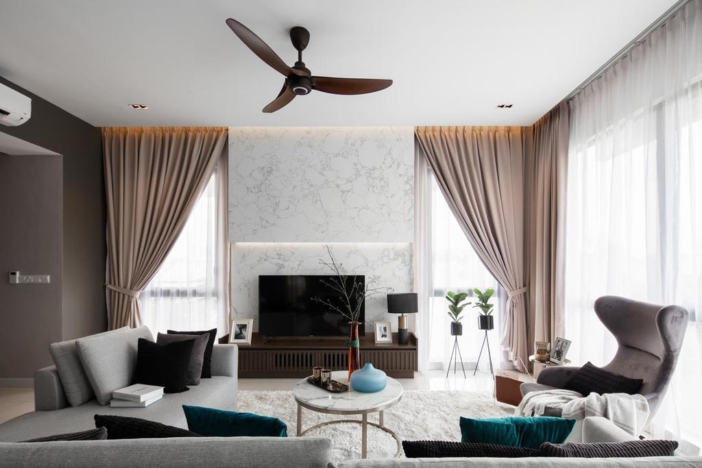 Contemporary, Landed, Living Room, Blossom Jade Hills, Kajang, Interior Designer, MIL Design & Construction, Modern