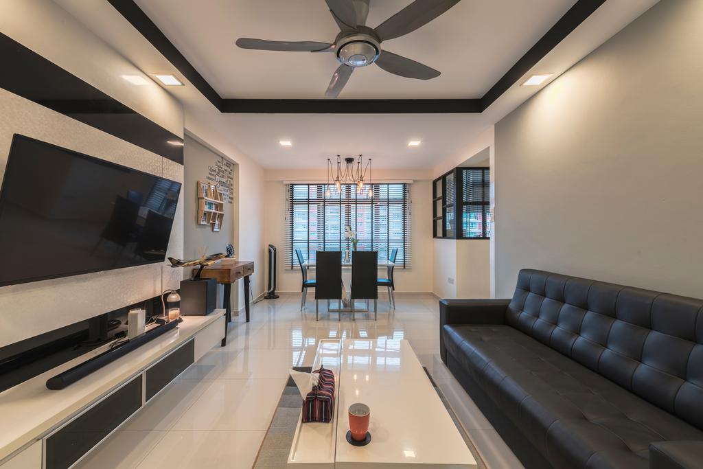 Industrial, HDB, Living Room, Punggol Field, Interior Designer, Design Identity, Modern