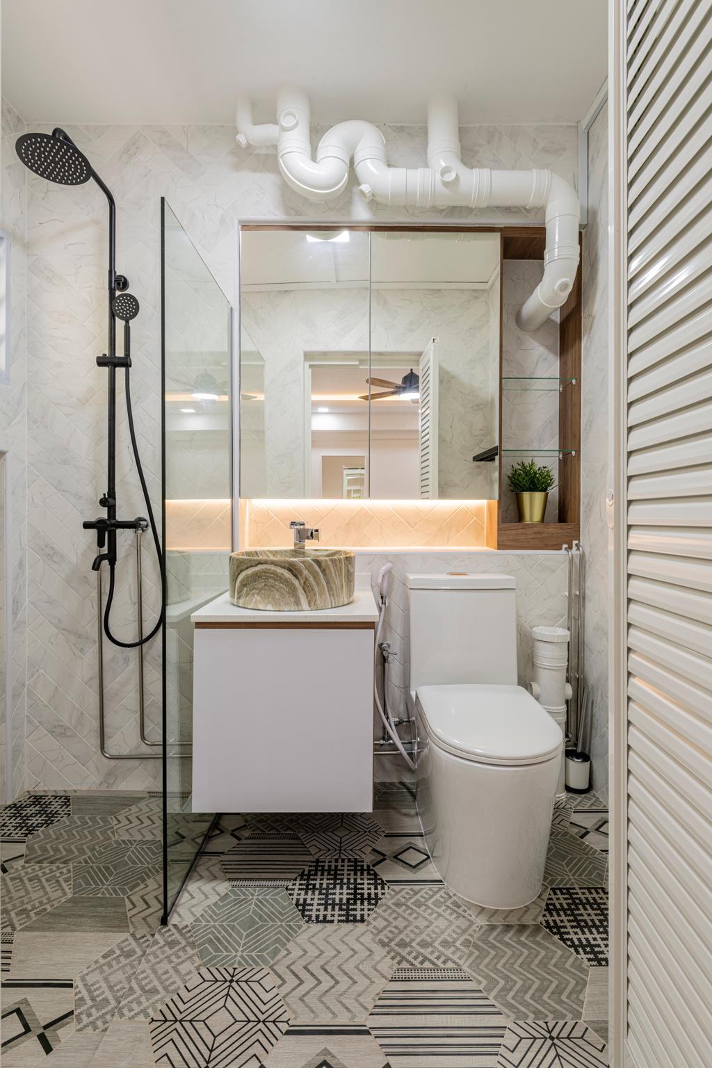 Modern, HDB, Bathroom, Woodlands Avenue 1, Interior Designer, Design Identity