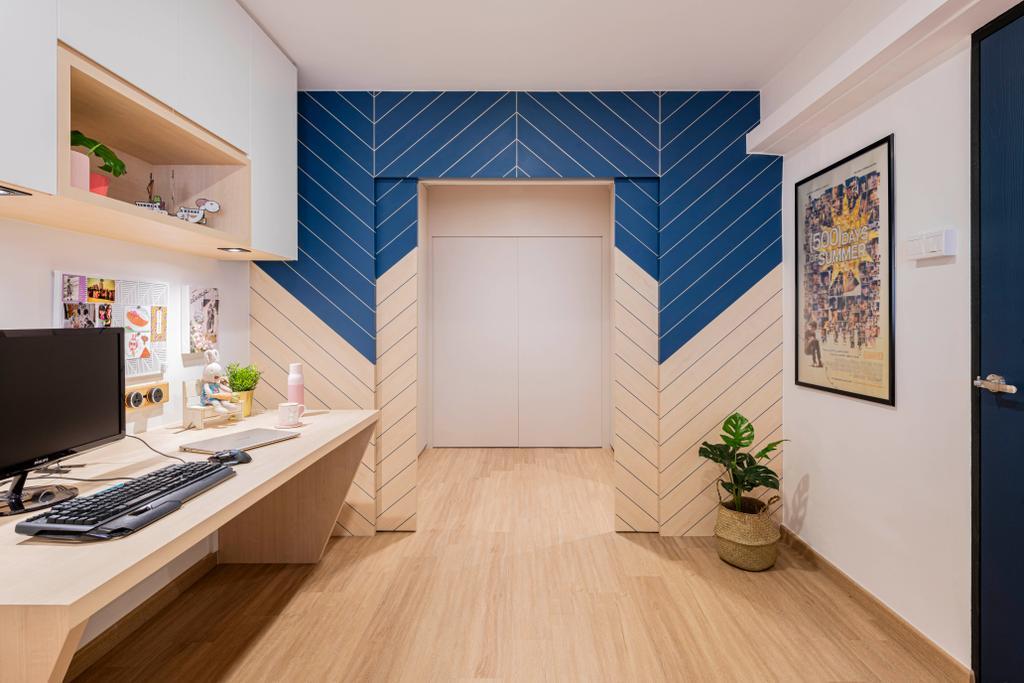 Contemporary, HDB, Study, Lorong Liew Lian, Interior Designer, Urban Home Design 二本設計家