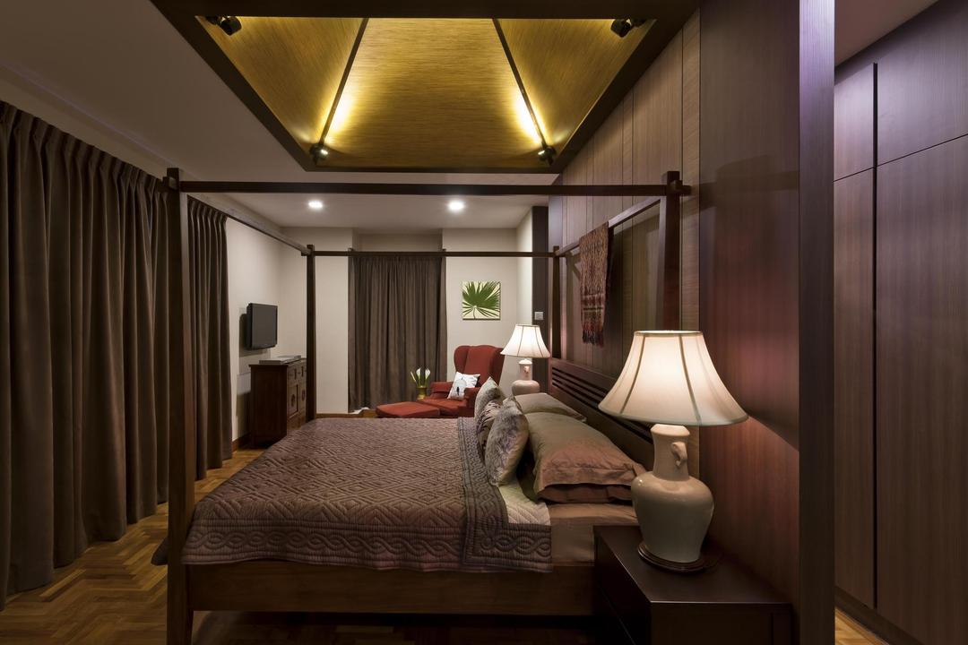 Park Villas, Space Factor, Traditional, Bedroom, Landed, Balinese, Four Poster Bed, Lamp, Parquet, Wood Laminate, Wood, Laminate, Warm Tones, Resort, Curtains, False Ceiling, Parquet Wall, Woodwork, Lighting, Indoors, Interior Design, Room
