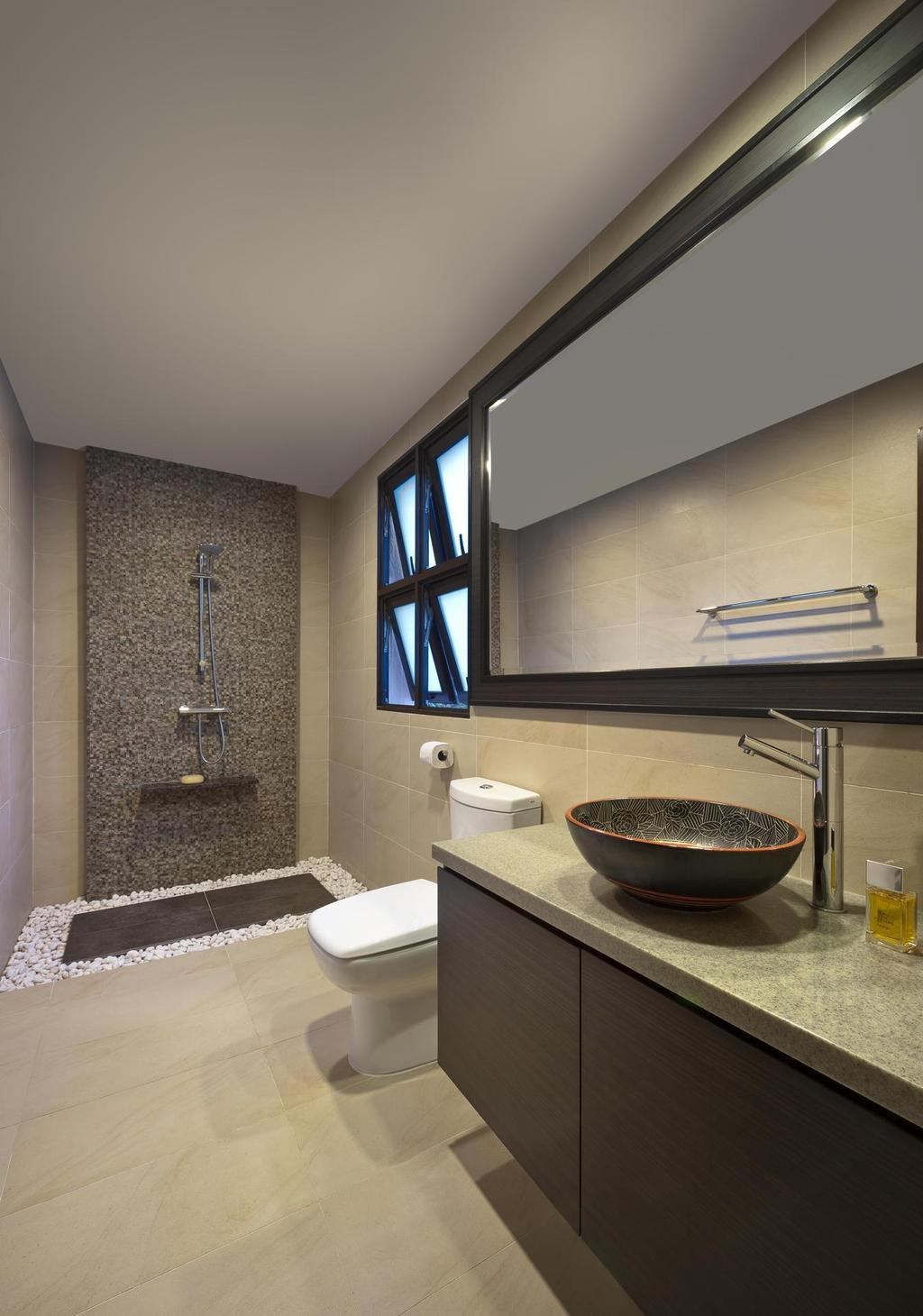 Traditional, Landed, Bathroom, Park Villas, Interior Designer, Space Factor, Vessel Sink, Bathroom Counter, Reosrt, Pebbles, Mirror, Stone Wall, Marble Surface, Architecture, Building, Skylight, Window, Indoors, Interior Design, Room, Sink, Pot