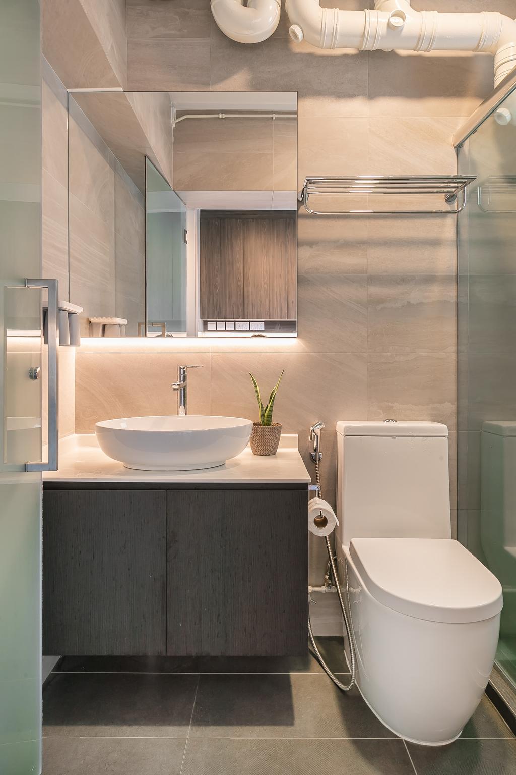 Contemporary, HDB, Bathroom, Compassvale Road, Interior Designer, Ciseern, Scandinavian