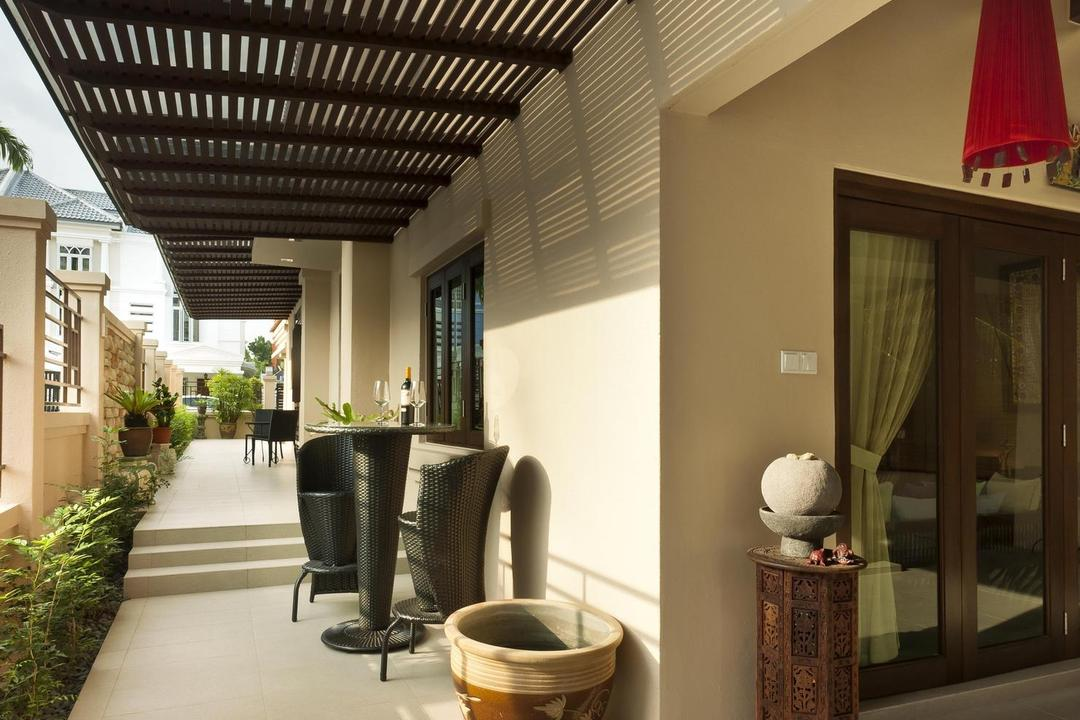 Park Villas, Space Factor, Traditional, Living Room, Landed, Awning, White, Chair, Table, Rattan, Side Table, Woodwork, Sculpture, Steps, Tile, Tiles, Flora, Jar, Plant, Potted Plant, Pottery, Vase, Lamp, Lampshade, Bedroom, Indoors, Interior Design, Room, Cup, Dining Room