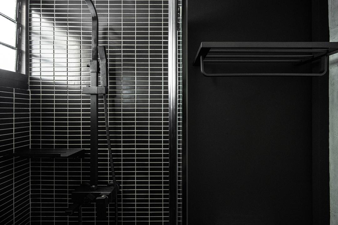 Tampines Greenweave, 19 Eighty Three, Contemporary, Bathroom, HDB, Black, Monochrome