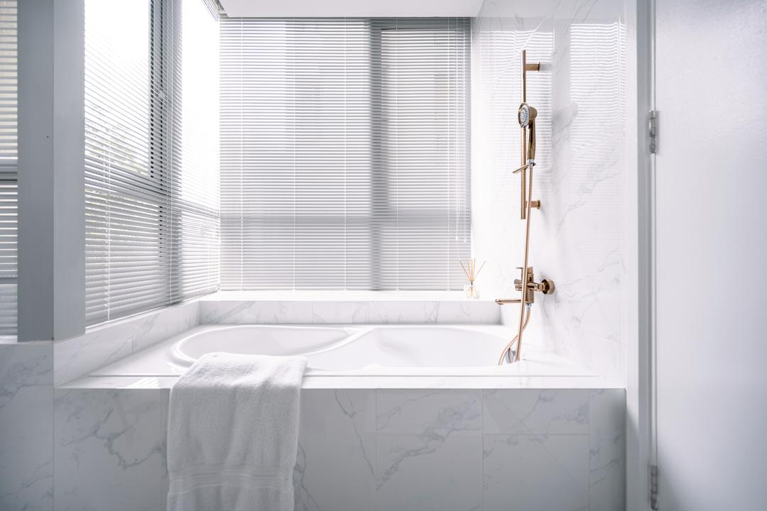 Kovan Melody, Mr Shopper Studio, Modern, Contemporary, Bathroom, Condo, Bath Tub, Bathtub, Marble