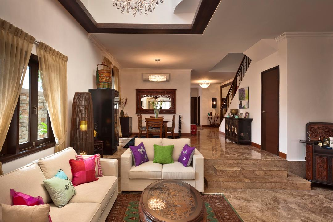 Park Villas, Space Factor, Traditional, Living Room, Landed, Marble Flooring, Rug, Coffee Table, Table, Sofa, Chair, High Ceiling, Chandelier, Lighting, Balinese, Railing, Standing Lamp, Balustrade, White, Window, Indoors, Room