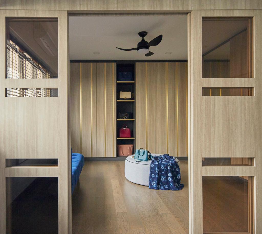 Modern, HDB, Bedroom, Kim Tian Place, Interior Designer, The Interior Lab, Contemporary, Walk In Wardrobe, Wardrobe