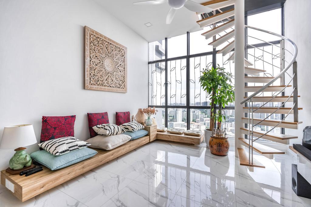 Modern, Condo, Living Room, Regent Heights, Interior Designer, Azcendant, Contemporary, High Ceiling, Stair Case, Stairs