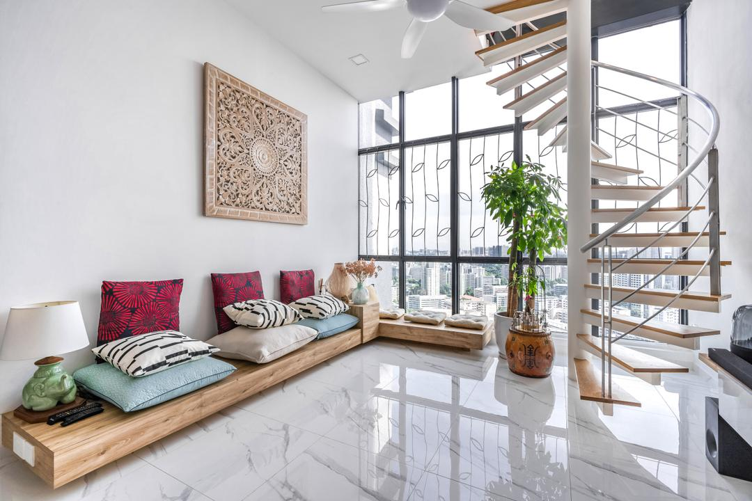 Regent Heights, Azcendant, Modern, Contemporary, Living Room, Condo, High Ceiling, Stair Case, Stairs