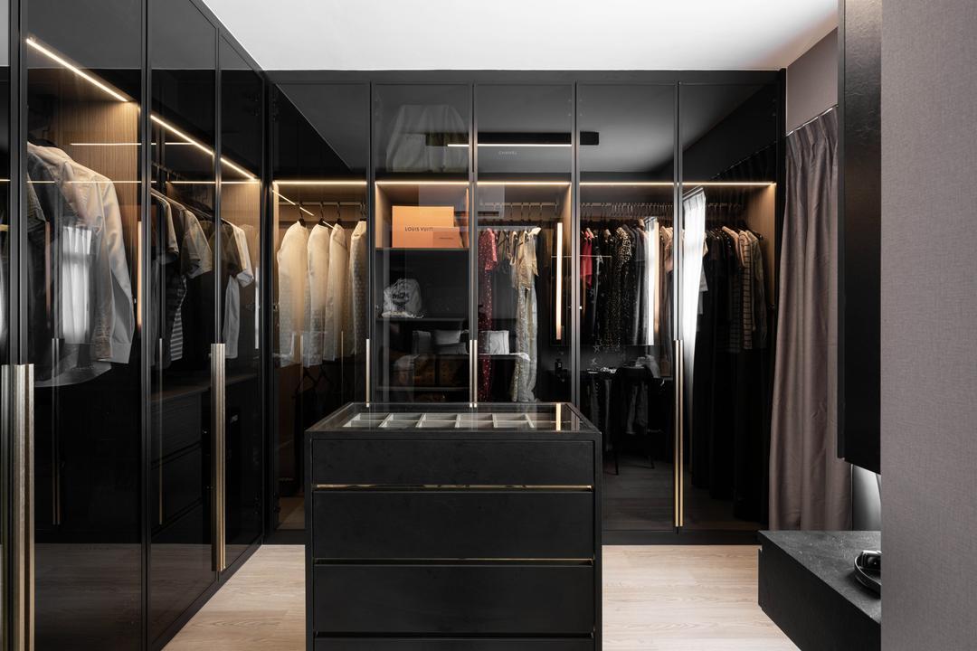 Tampines GreenWeave, Mr Shopper Studio, Modern, Minimalistic, Bedroom, HDB, Wardrobe, Walk In Wardrobe, Accessory Island, Dressing Room