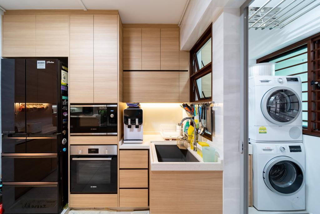 Contemporary, HDB, Kitchen, Fernvale Road, Interior Designer, Albedo Design, Minimalistic