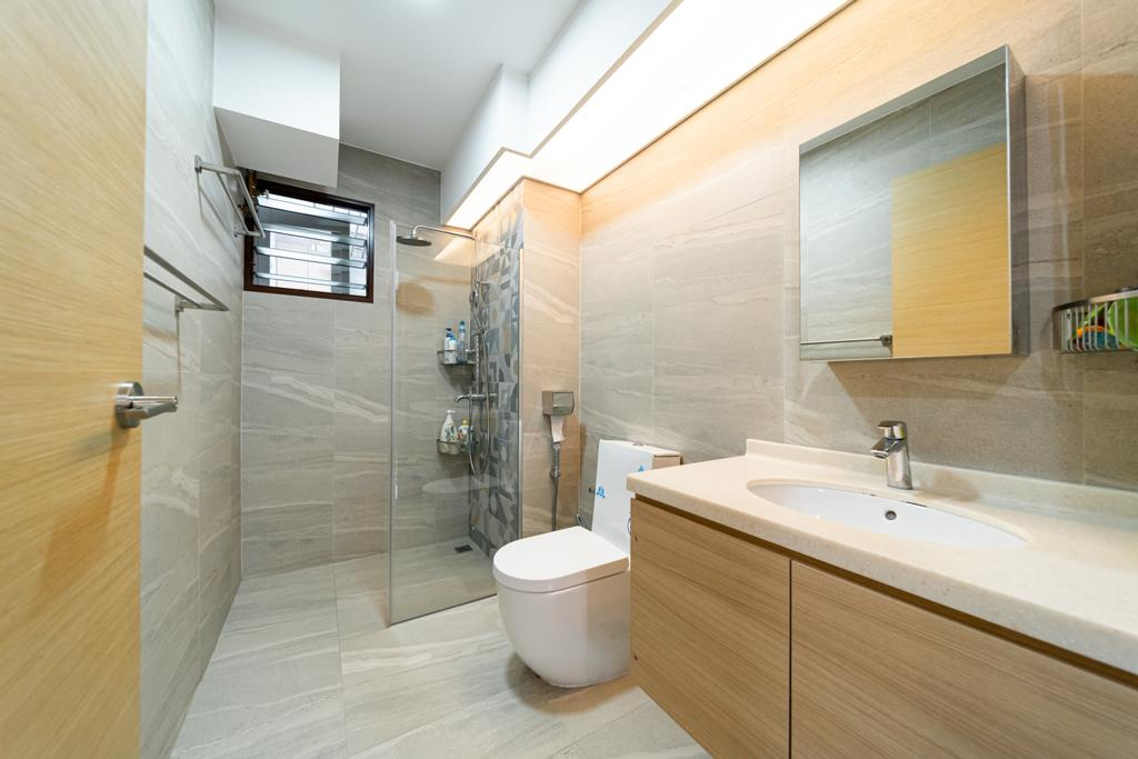 Contemporary, HDB, Bathroom, Fernvale Road, Interior Designer, Albedo Design, Minimalistic